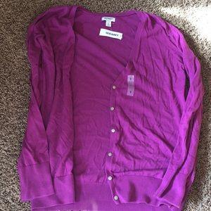 Women's purple soft button down sweater